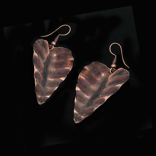 Brown Copper Leaves Earrings - Nurit Niskala