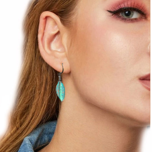 Sm Verdigris Copper Leave Earrings - Nurit Niskala
