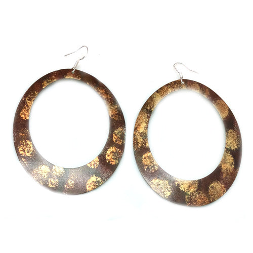 Enamel Paint Brown/Gold Earrings*