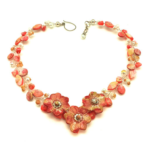 Handpaint Coral Flowers Necklace - Nurit Niskala