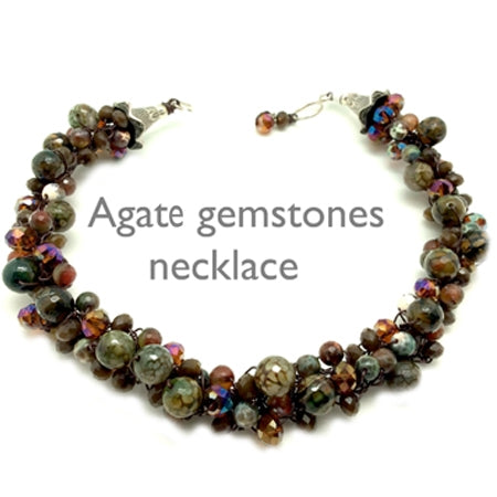 Earth Tone Agate Gemstones necklace - Nurit Niskala