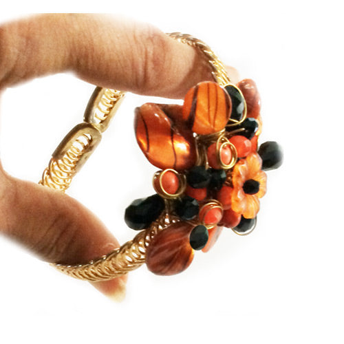 Orange Black Adjustable Bracelet