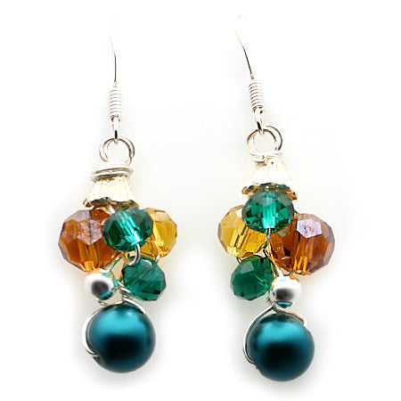 Dark Teal Amber Earrings - Nurit Niskala