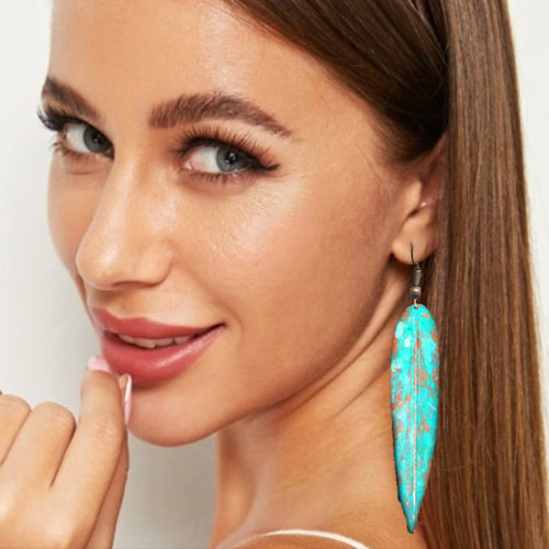Copy of Copper Turquoise Long Earrings