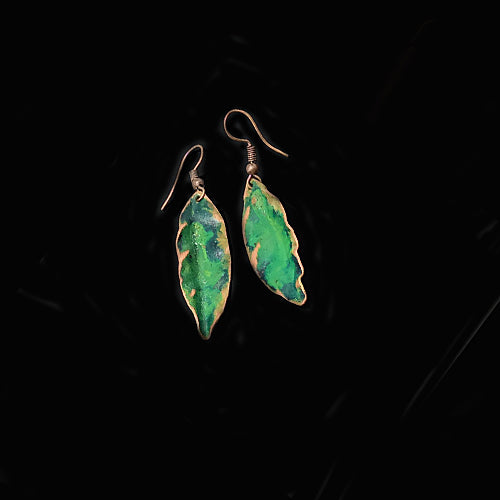 Small Green Copper Patina Earrings - Nurit Niskala