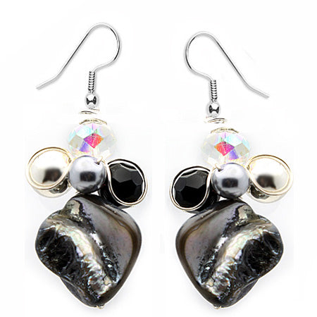 Black Mother of Pearl Earrings - Nurit Niskala