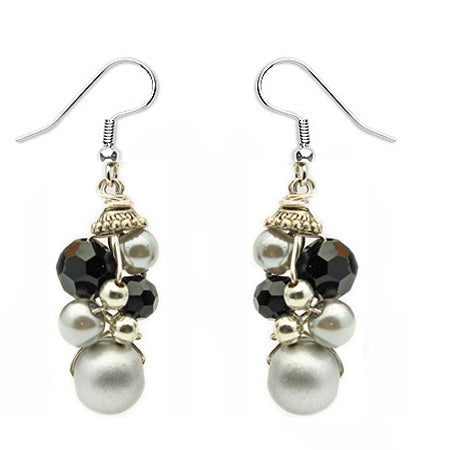 Black Silver Crochet Earrings - Nurit Niskala