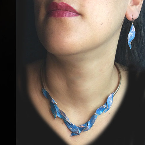 Blue Patina Leaf Choker