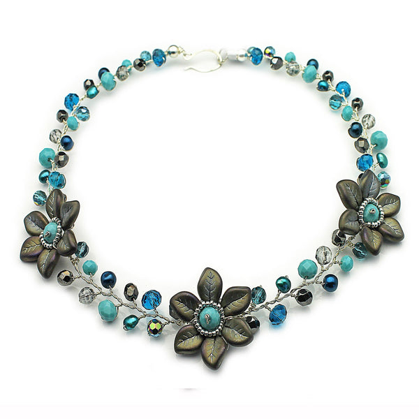 Teal Grey Flowers Necklace - Nurit Niskala