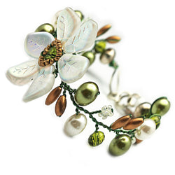 White Green Flowers Bracelet - Nurit Niskala