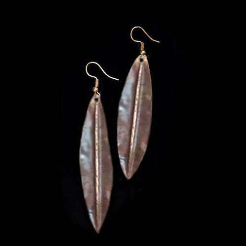 Brown Copper Leave Earrings - Nurit Niskala