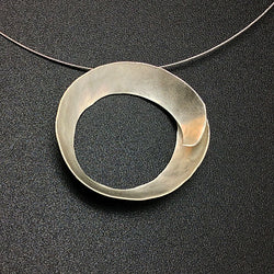 Contemporary Matte Silver Circle Necklace
