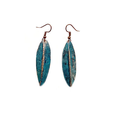 Dark Teal copper Earrings