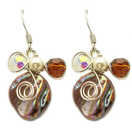Brown Mother of Pearl Earrings - Nurit Niskala