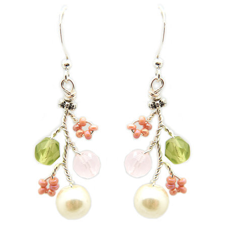 Green Pink Pearls Earrings - Nurit Niskala
