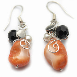 Orange Mother of Pearl Earrings - Nurit Niskala