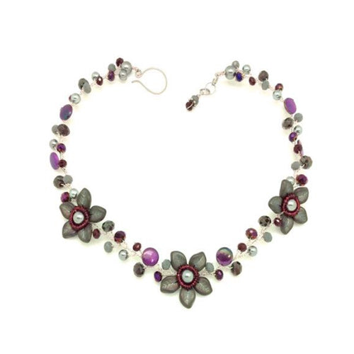 Burgundy Grey Flowers Necklace
