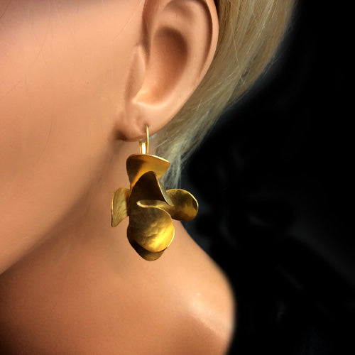 Artistic Gold Flower Earrings