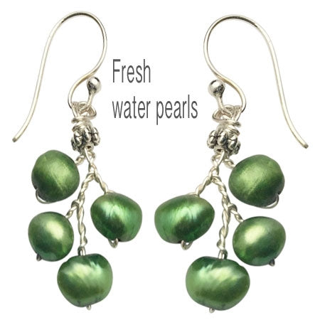 Green Fresh Water Pearls Earrings - Nurit Niskala
