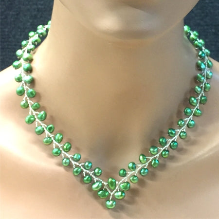 Green Fresh Water Pearls Necklace - Nurit Niskala