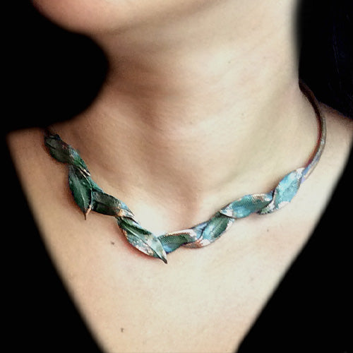 Teal Green Patina Leaf Choker*