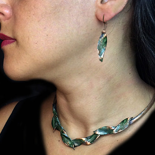 Teal Green Patina Leaf Choker