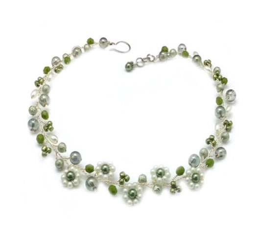 Green White Flowers Necklace