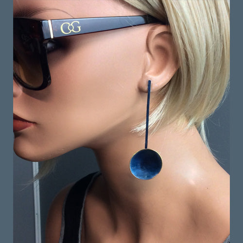 Blue Stud Long Circle Earrings