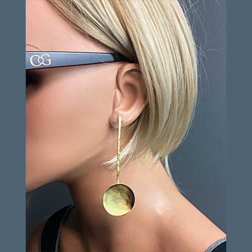 Matte Gold Stud Long Circle Earrings