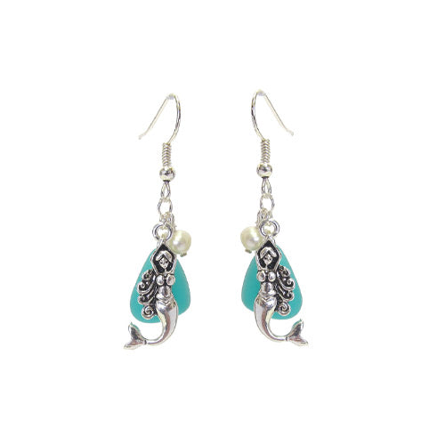 Mermaid Blue Seaglass Earrings