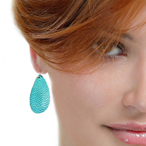 Fish Leather Turquoise Hook Earrings - Nurit Niskala