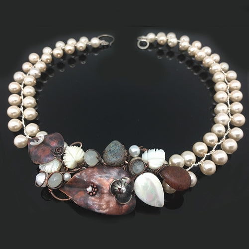 Copper Pearls Necklace - Nurit Niskala