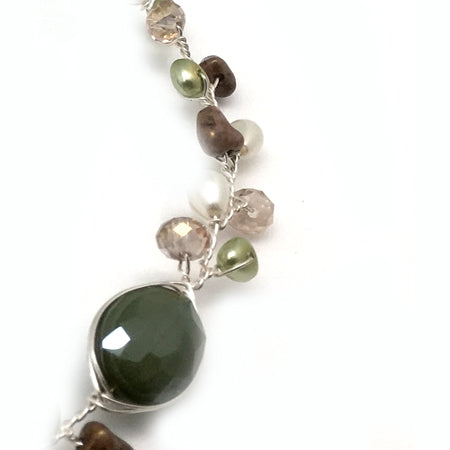 Green Brown Delicate Necklace - Nurit Niskala
