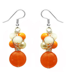 Tangerine Orange Crochet Earrings - Nurit Niskala