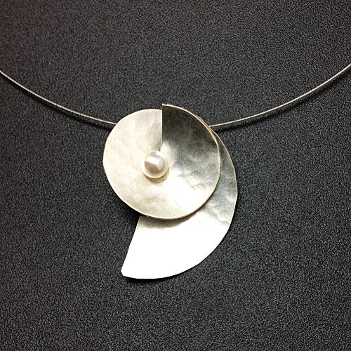Small Silver Pearl Matte Necklace