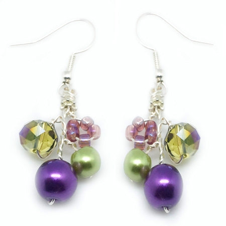 Purple Green Earrings - Nurit Niskala