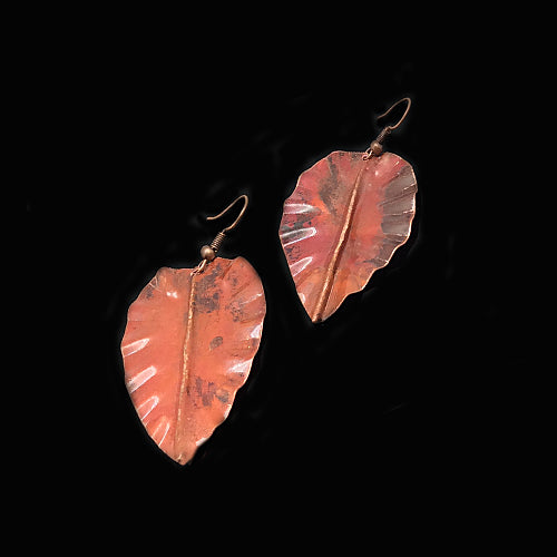 Red Brown Leaves Earrings - Nurit Niskala