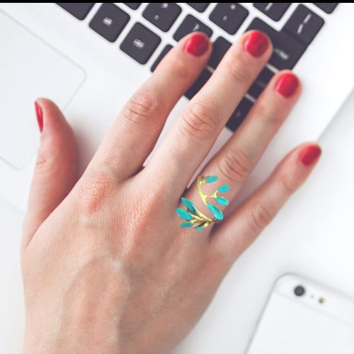 Boho Turquoise Patina Leaves Ring*