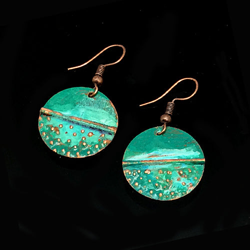 Small Verdigris Circle Copper Earrings - Nurit Niskala