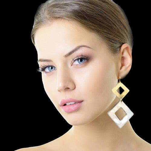 Hollow Square Drop Earrings