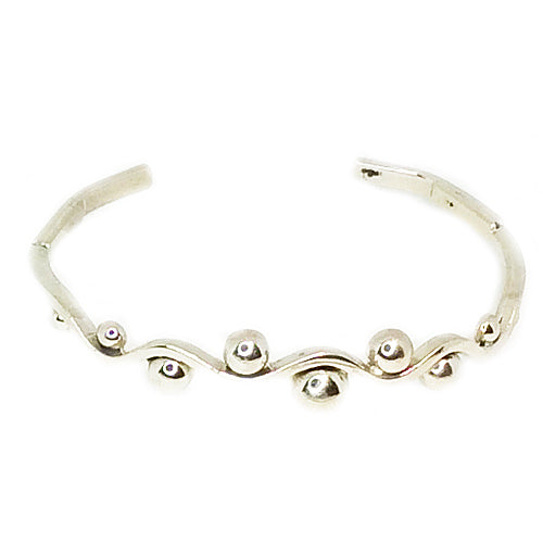 Bright Top Ball Silver Cuff*