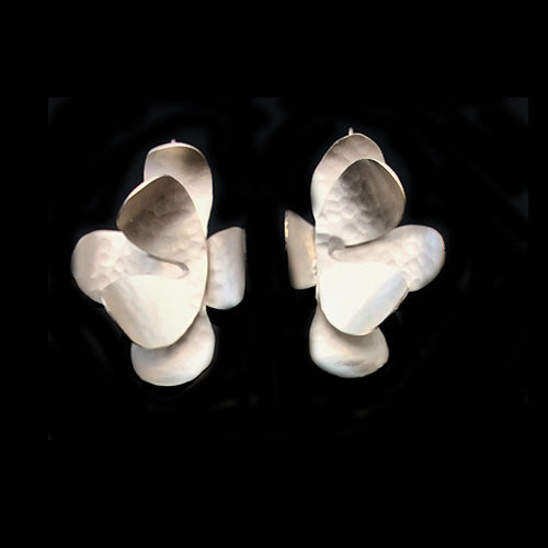 Artistic Silver Flower Earrings*