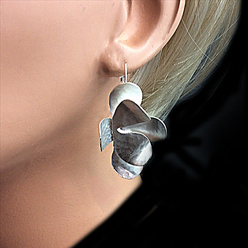 Artistic Silver Flower Earrings