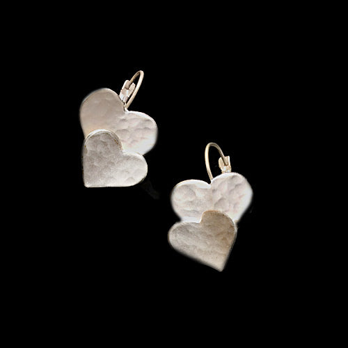 Artistic Silver Layered Heart Earrings*