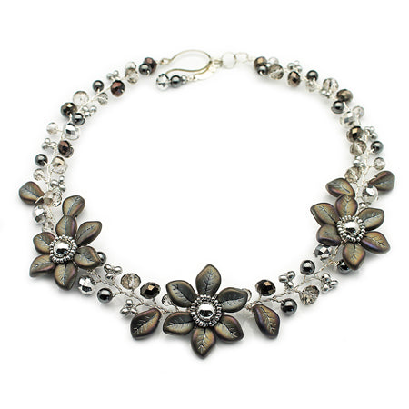Grey Flowers Necklace - Nurit Niskala