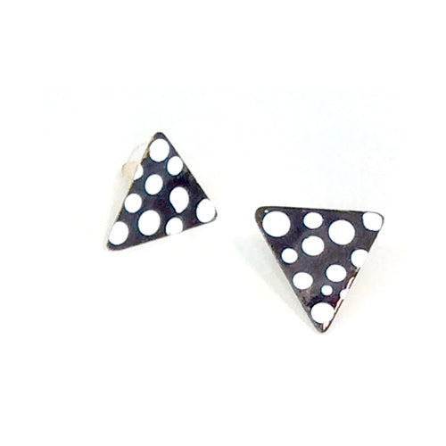 Polka Dot Black and White Enamel Stud Earrings*