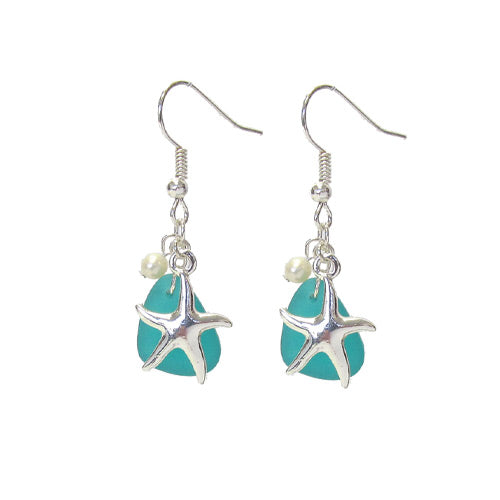 Starfish Blue Seaglass Earrings*