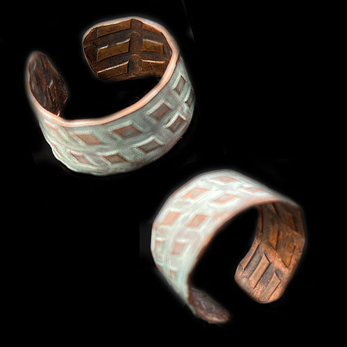 White Patina Copper Ring*