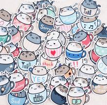 Load image into Gallery viewer, 'Cat In A Cup' Stickers - 40 pack