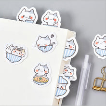 Load image into Gallery viewer, Cat In A Bowl Stickers - 45 pack